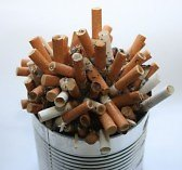 Smoking & Addictions. cigarette butts-fw